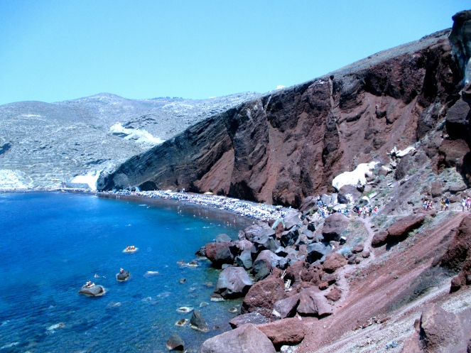 Red Beach, Akrotiri. This was an erupted volcano site with black sand.. pretty chill