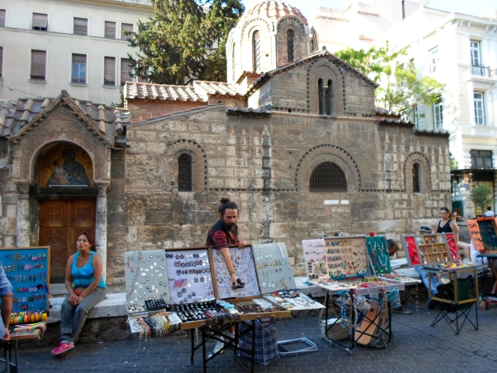 Syntagma Square - where the capital building and all the protests have been happening.. Here's a street vendor selling some goods