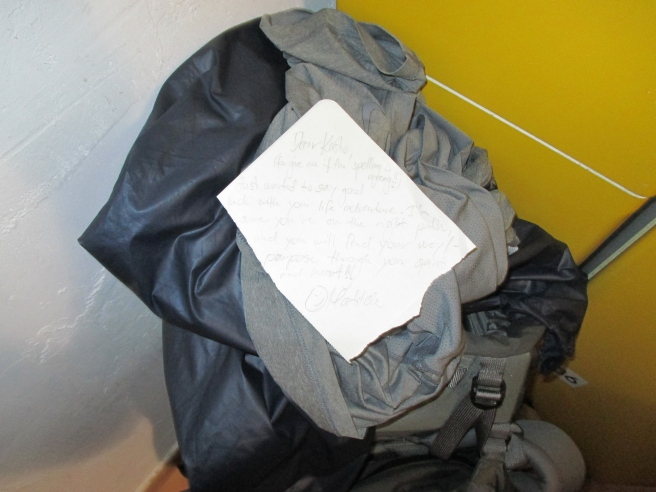 A letter Matilda left for me on my bag before i'd awake wishing me well:)